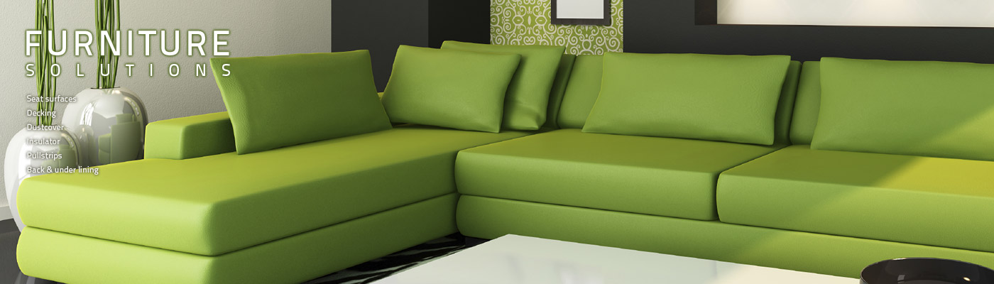 ACME Mills Furniture Suspensions green couch showing quality-made fabric