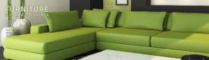 Large comfortable looking green sectional made of Comfortzone material showing